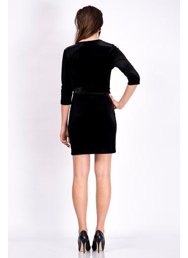İroni Kruvaze Yaka Kadife Elbise Siyah